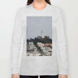Streets Of San Francisco With Coit Tower Long Sleeve T-shirt