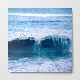 Blue Ocean Wave Crashing to the Beach Metal Print