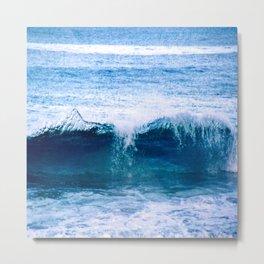 Blue Ocean Wave Crashing to the Beach Metal Print
