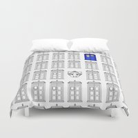 tardis Duvet Covers featuring Tardis by Megan Twisted