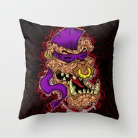 bebop Throw Pillows featuring Bebop is infected! by DesecrateART (Infected)
