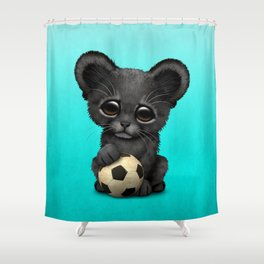 Black Panther Cub With Football Soccer Ball Shower Curtain