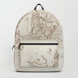 piazza di spagna in rome hand draw Backpack