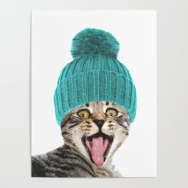 Cat with hat illustration Poster