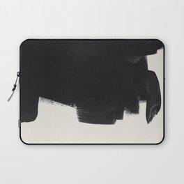 Mid Century Modern Minimalist Abstract Art Brush Strokes Black & White Ink Art Colorfield Laptop Sleeve