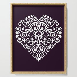 white damask heart Serving Tray