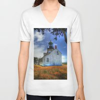 lighthouse V-neck T-shirts featuring Lighthouse by Christine Workman