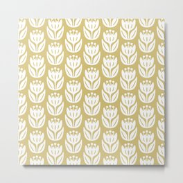 Mid Century Modern Flower Pattern Gold 333 Metal Print