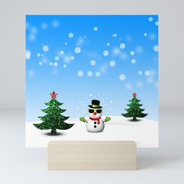 Cool Snowman and Sparkly Christmas Trees Mini Art Print