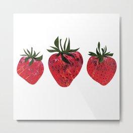 Three tasty looking strawberries Metal Print