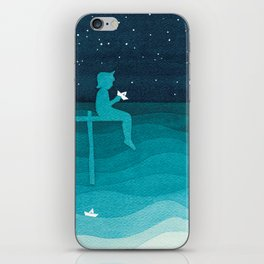 Boy with paper boats, watercolor teal art iPhone Skin