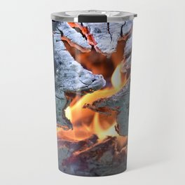 black white and flame Travel Mug