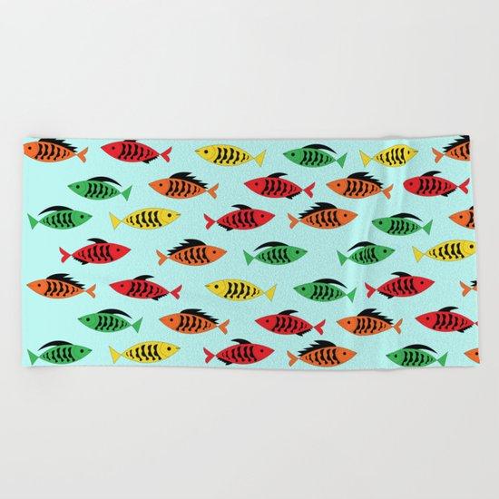 fish pattern Beach Towel