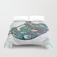 sloths Duvet Covers featuring Sleepy Sloths by LindseyRossInk