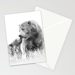 Grizzly Bear And Cub - B&W Wildlife Photography Stationery Cards