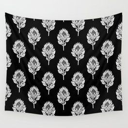 Linocut Protea flower printmaking pattern black and white floral Wall Tapestry