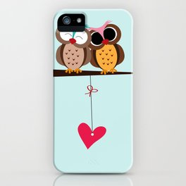 Love owls on the branch, blue background iPhone Case