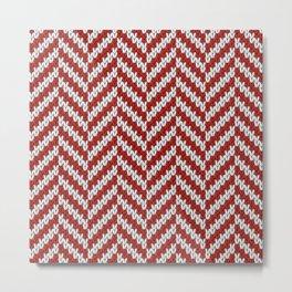 Realistic knitted herringbone pattern red Metal Print