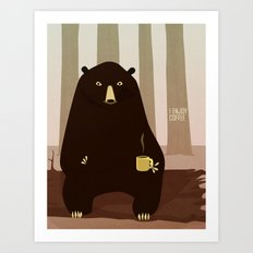 Bear Enjoys Coffee Art Print