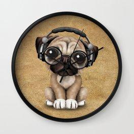 Cute Pug Puppy Dj Wearing Headphones and Glasses Wall Clock