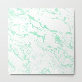 Trendy modern pastel mint green white marble pattern by Girly Trend Metal Print