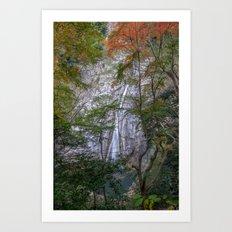 Japanese waterfall in the autumn Art Print