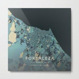 Fortaleza, Brazil - Cream Blue Metal Print