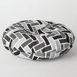 Monochrome Paving - Herringbone Pattern Floor Pillow