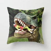 jurassic park Throw Pillows featuring Welcome to Jurassic Park by Jamizzle