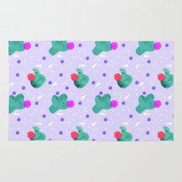 Hello Cactus Lavender Background Rug