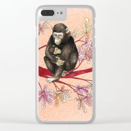 Chimp with baby Clear iPhone Case