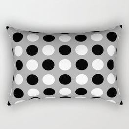 Mid Century Modern Polka Dots 922 Black White and Gray Rectangular Pillow