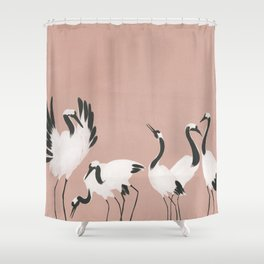 Crane Dance - Mauve Pink Shower Curtain