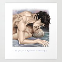 johnlock Art Prints featuring Johnlock - Do you got a boyfriend? by Clarice82