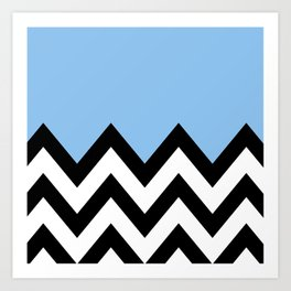 BLUE COLORBLOCK CHEVRON Art Print
