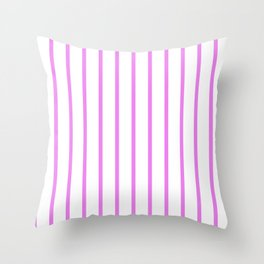 Vertical Lines (Violet/White) Throw Pillow