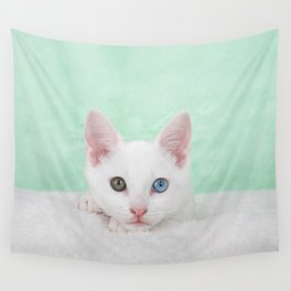 Portrait of a white kitten with heterochromia Wall Tapestry