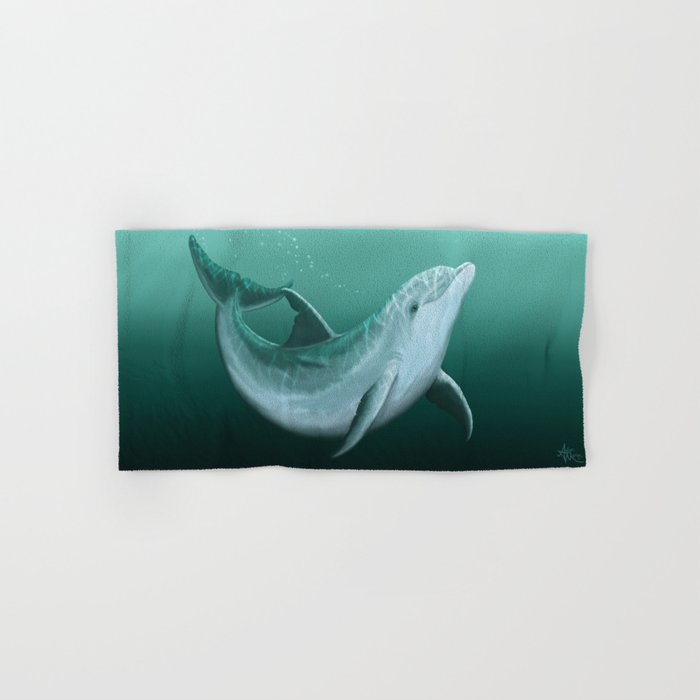 """Riversoul"" by Amber Marine ~ Indian River Lagoon bottlenose dolphin art, (Copyright 2014) Hand & Bath Towel"