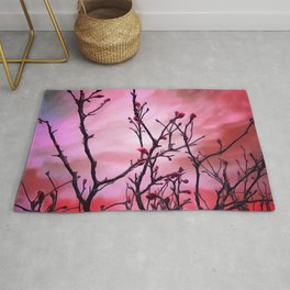 Dark Branches Red Buds And Fiery Sky Rug