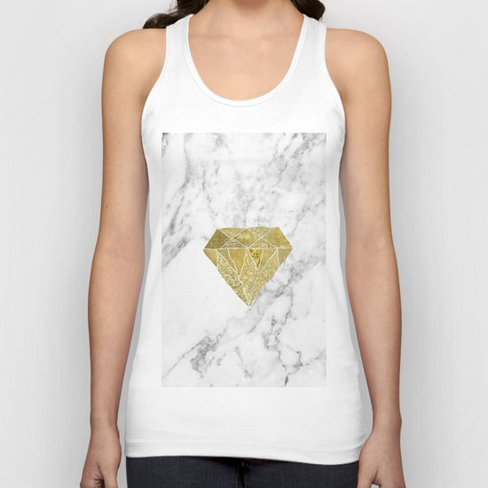 Gold diamond on marble Unisex Tank Top
