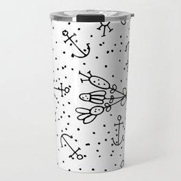 Abstract black white nautical dots floral Travel Mug