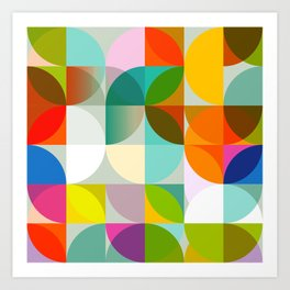mid century geometry vibrant colors Art Print