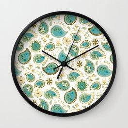 Hedgehog Paisley_Teal BgWhite Wall Clock