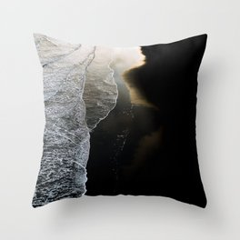 Waves on a moody black sand beach in iceland - minimalist Landscape Photography  Throw Pillow