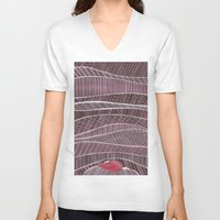 blankets V-neck T-shirts featuring Pile on the blankets by Laura Lee Gulledge