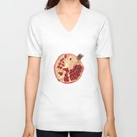 pomegranate V-neck T-shirts featuring Pomegranate by Trinity Mitchell