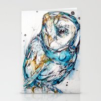 glass Stationery Cards featuring The Sea Glass Owl by Abby Diamond