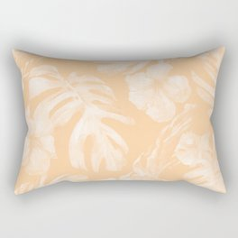 Island Vacation Hibiscus Palm Leaf Coral Mango Orange Rectangular Pillow