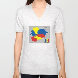 political map of Andorra country with flag Unisex V-Neck