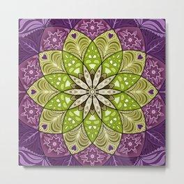 Blooming Flower Mandala Metal Print